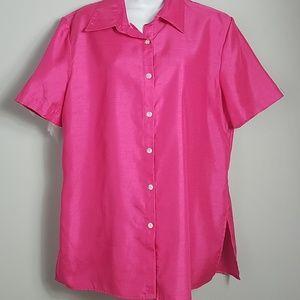 Dress Barn Pink Faux Silk Short Sleeve Blouse